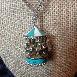 Enamel Carousel necklace Lolita turquoise orange